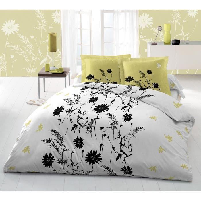 couette imprim e tatiana 220x240 cm blanc et anis achat vente couette cdiscount. Black Bedroom Furniture Sets. Home Design Ideas
