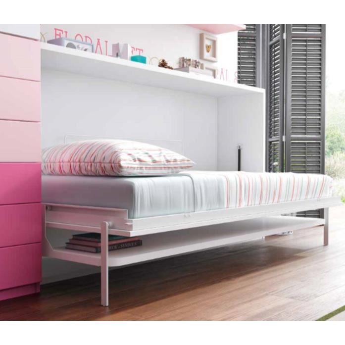 Armoire lit teo 90x190cm avec bureau achat vente lit for Armoire lit bureau escamotable