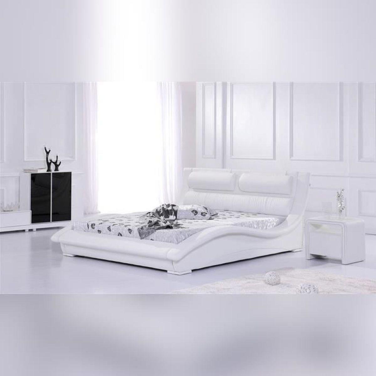Lit design rivera 140 cm blanc mod le confortable et - Lit confortable design ...