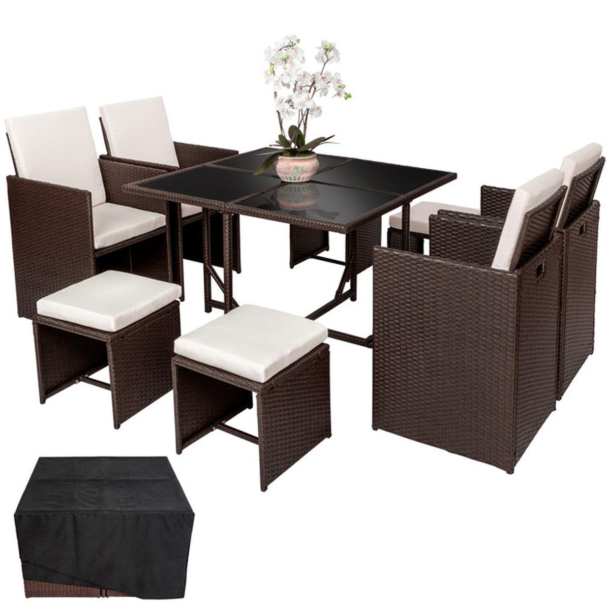 Salon de jardin ensemble avec 4 chaises 4 tables et 1 table en r sine tress e acier marron - Salon de jardin table et chaises mulhouse ...