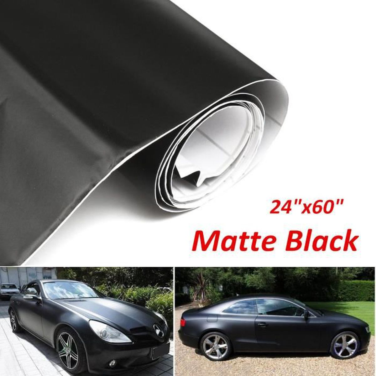 film autocollant sticker vinyle adhesif noir matte 60x150cm pour voiture auto achat vente. Black Bedroom Furniture Sets. Home Design Ideas