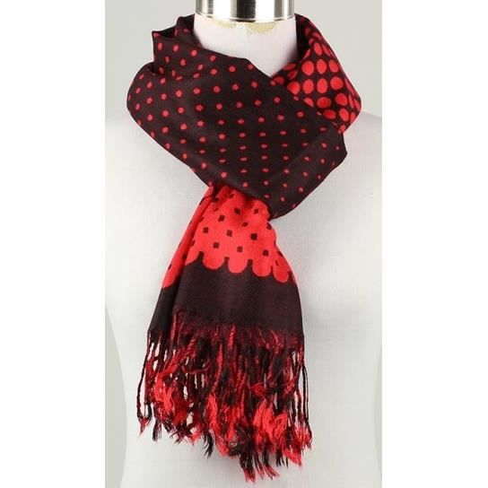 foulard femme rouge et noir pois franges viscose rouge achat vente echarpe foulard. Black Bedroom Furniture Sets. Home Design Ideas