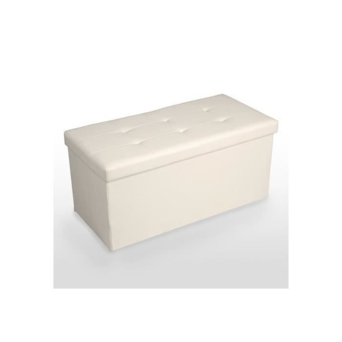 banquette coffre de rangement pouf pliable beige ban01007 achat vente banquette soldes d. Black Bedroom Furniture Sets. Home Design Ideas