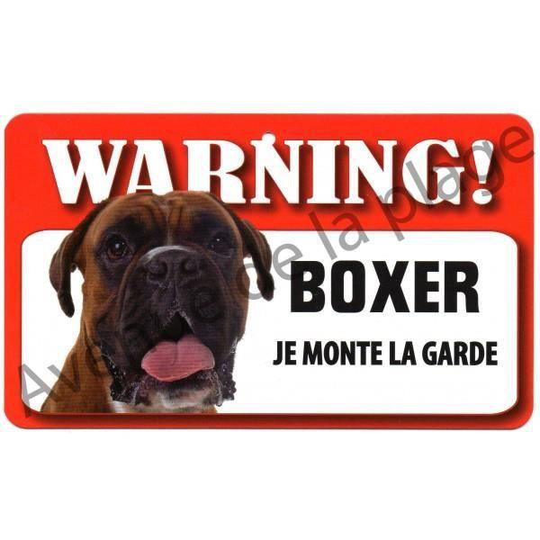 plaque attention au chien boxer achat vente plaque de porte cdiscount
