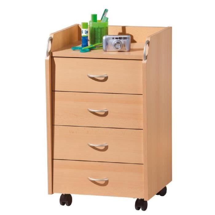 Caisson sur roulettes 4 tiroirs bois h tre achat vente caisson de bureau - Caisson rangement bois ...