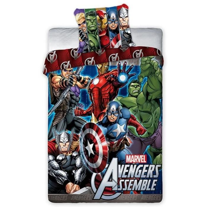 avengers parure 100 coton linge lit housse de couette. Black Bedroom Furniture Sets. Home Design Ideas