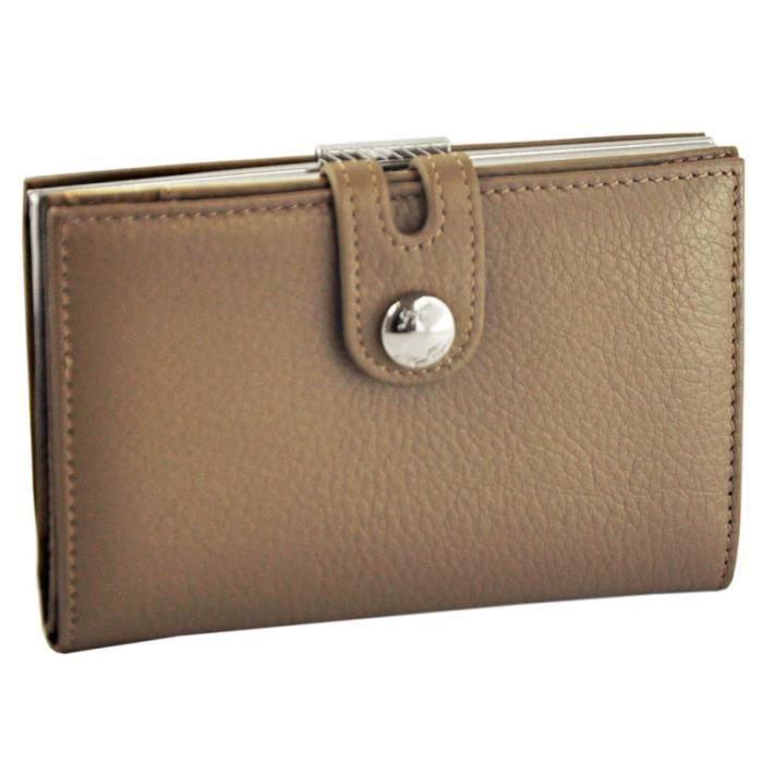 Fancil porte monnaie fermoir porte cartes cuir couleur taupe gris taupe achat vente porte for Porte couleur taupe