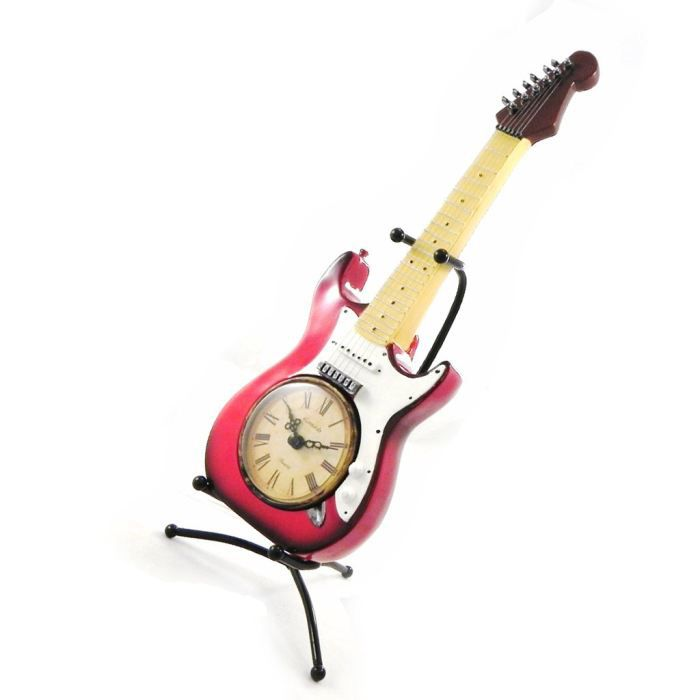 pendule design guitare electrique rouge blanc achat. Black Bedroom Furniture Sets. Home Design Ideas