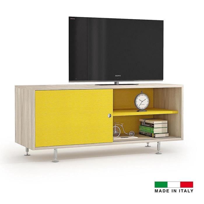Meuble Tv Quatro bicolore jaune et bois Jaune - Achat ...