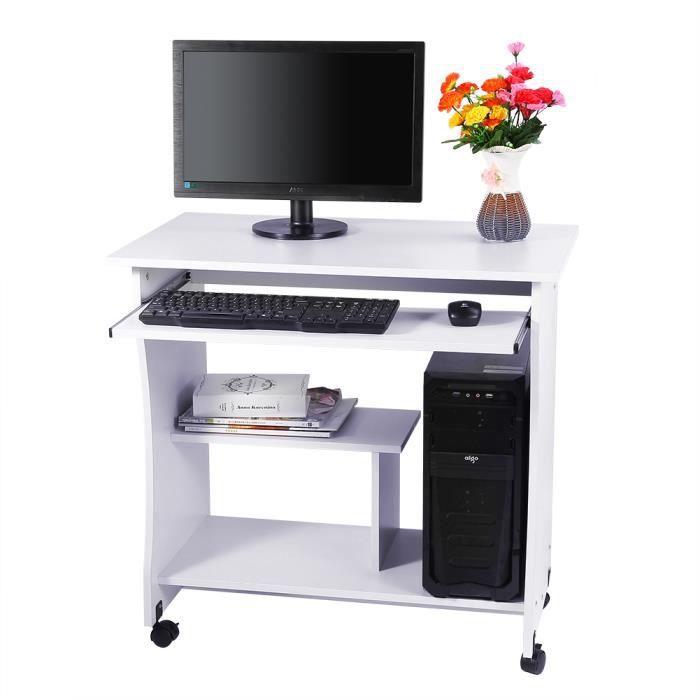 bureau d 39 ordinateur pc table de bureau avec des roues. Black Bedroom Furniture Sets. Home Design Ideas