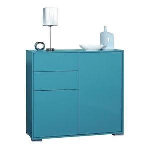 NOVA Bahut haut 114 cm - Laqué bleu brillant