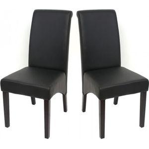 Chaise salle a manger noir simili cuir achat vente for Chaise cuir noir salle manger