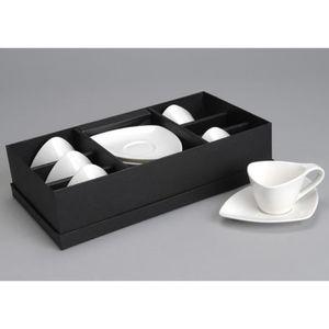 SERVICE À THÉ - CAFÉ Coffret 6 tasses a café blanches Triangle