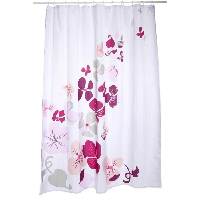 rideau de douche fleurs blanc achat vente rideau de douche cdiscount. Black Bedroom Furniture Sets. Home Design Ideas