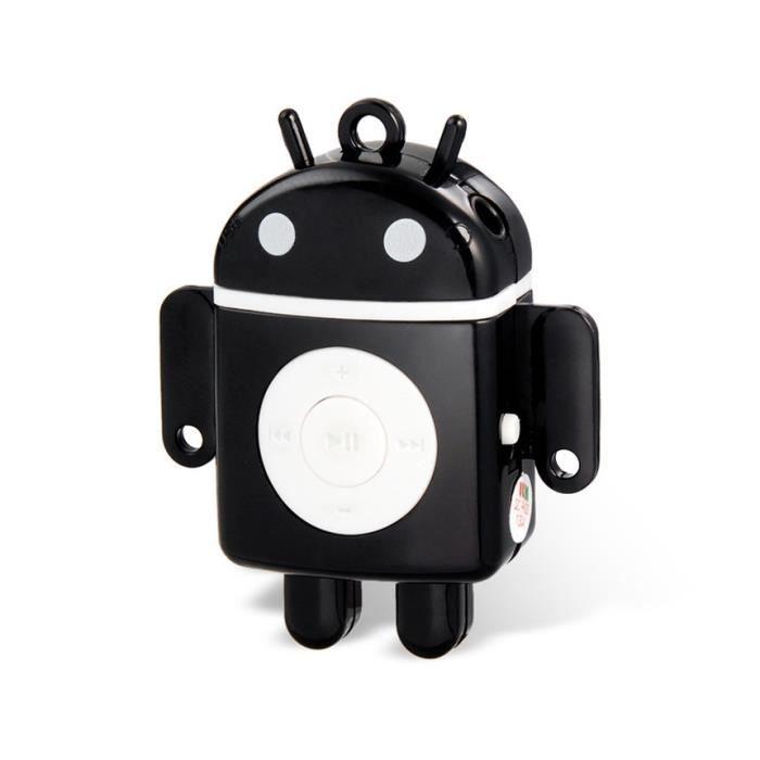 android robot en forme de mini lecteur mp3 avec lecteur de carte tf noir lecteur mp3 avis. Black Bedroom Furniture Sets. Home Design Ideas