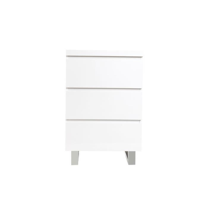 Miliboo meuble d 39 appoint blanc laqu juno achat - Meuble d appoint wc ...