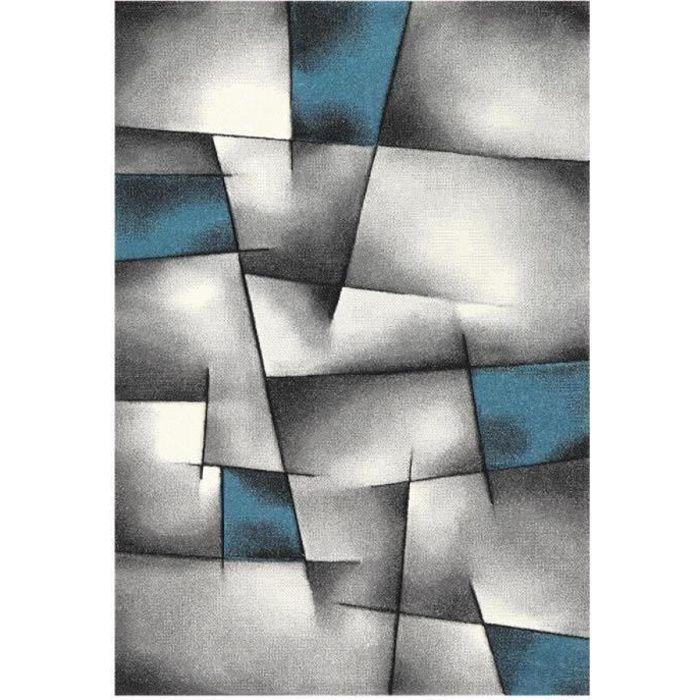 Brillance tapis de salon 200x290 cm bleu noir et gris Tapis noir et bleu