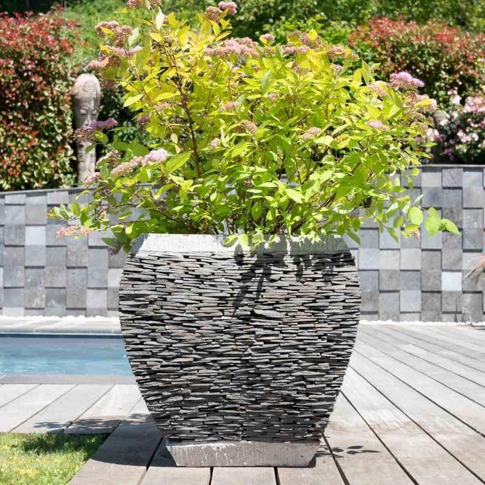 Pot bac jardini re galb ardoise 50 cm jardin p achat for Ardoise concassee pour jardin