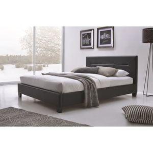 lit simili cuir 160x200 achat vente lit simili cuir 160x200 pas cher cdiscount. Black Bedroom Furniture Sets. Home Design Ideas