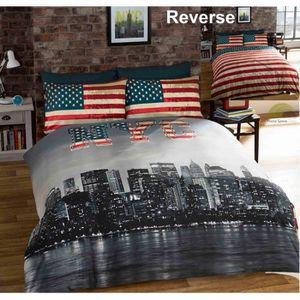 parure de lit new york achat vente parure de lit new york pas cher cdiscount. Black Bedroom Furniture Sets. Home Design Ideas