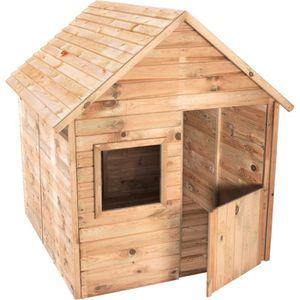 cabane en bois enfant peindre 123 x 119 x 158 cm achat vente maisonnette ext rieure. Black Bedroom Furniture Sets. Home Design Ideas
