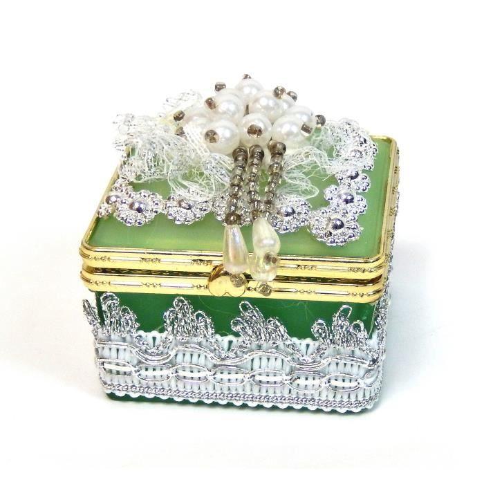 boite a bijoux en verre carr vert achat vente boite a bijoux boite a bijoux en verre car. Black Bedroom Furniture Sets. Home Design Ideas