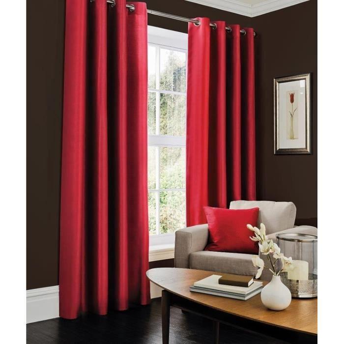 Paire de rideaux oeillets couleur rouge 140x260 achat for Achat de rideaux