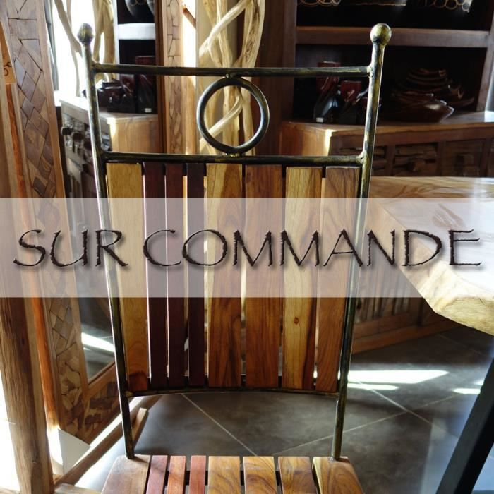 Ensemble 6 chaises fer forg et bois exotique achat for Chaise bois et fer forge