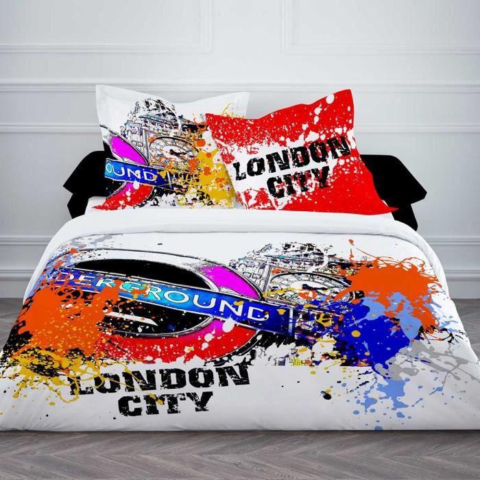housse de couette london city 220x240cm 100 coton achat vente parure de drap cdiscount. Black Bedroom Furniture Sets. Home Design Ideas
