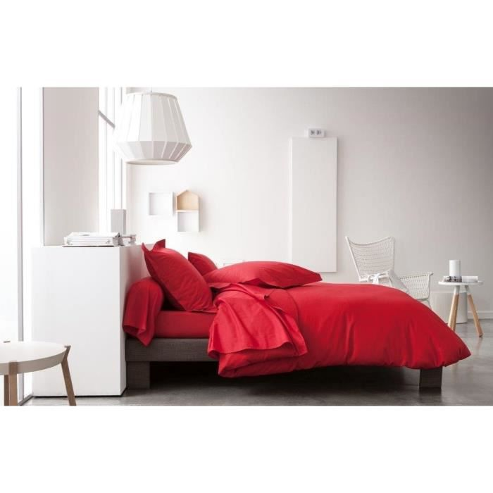 housse de couette 240x260 cm unie rouge achat vente. Black Bedroom Furniture Sets. Home Design Ideas