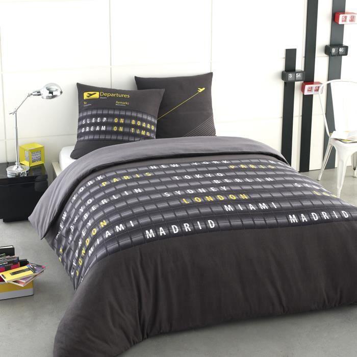 parure housse de couette 100 coton flanelle airport 200x200 cm 2 taies d 39 oreiller 65x65 cm. Black Bedroom Furniture Sets. Home Design Ideas