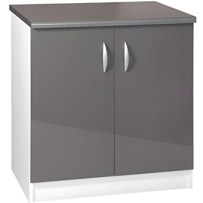 Meuble cuisine bas 80 cm sous vier oxane gris achat vente elements bas meuble cuisine bas for Portes elements cuisine