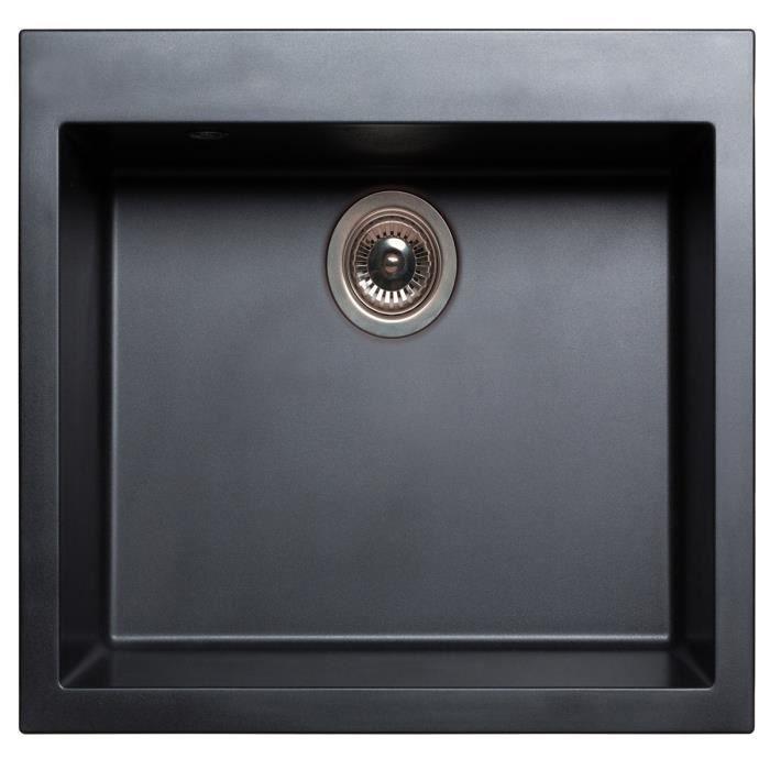 Evier 1 cuve carr e en ultra granit noir 60 x 51 cm for Evier 50 x 60