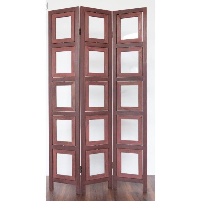 Paravent 3 panneaux marron en bois avec 15 porte photos for Porte 5 panneaux