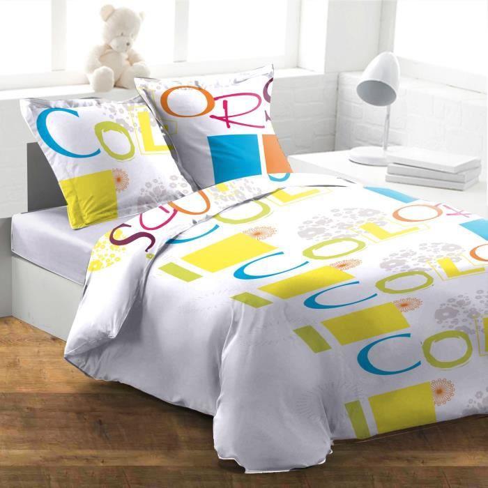 housse de couette 240x220 cm taies colors blanc achat vente housse de couette cdiscount. Black Bedroom Furniture Sets. Home Design Ideas