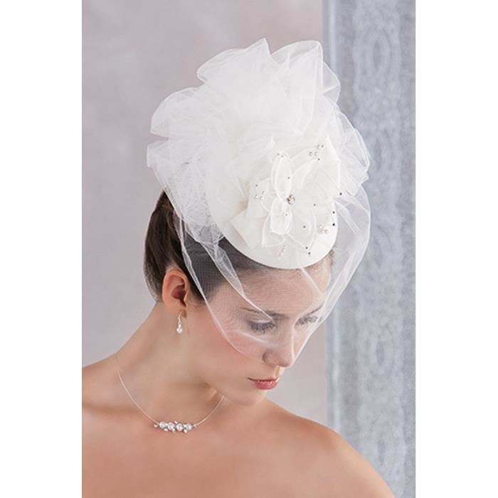 Bibi blanc avec voilette pour mariage blanc blanc for Des chapeaux pour les mariages