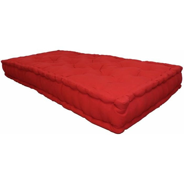matelas de sol coton 60x120x15cm rouge achat vente coussin matelas de sol cdiscount. Black Bedroom Furniture Sets. Home Design Ideas