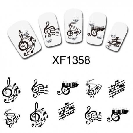 water decal pour ongles motif note de musique xf1358 achat vente stickers strass water. Black Bedroom Furniture Sets. Home Design Ideas