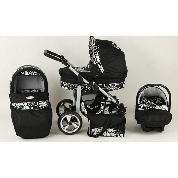 poussette trio silver noir fleurs blanches noir achat. Black Bedroom Furniture Sets. Home Design Ideas