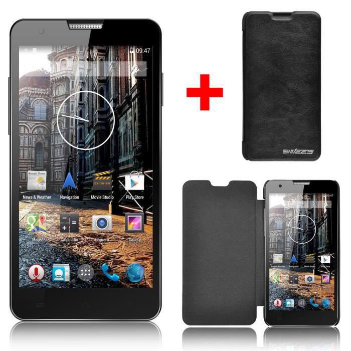 telephone portable smartphone swees android 5 pouce noir moin cher debloquer 3g et gps achat. Black Bedroom Furniture Sets. Home Design Ideas