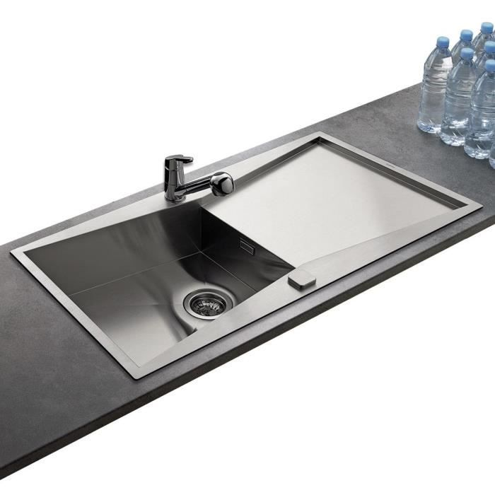 Vier inox lisse ewi edelweiss 1 grand bac 1 g achat for Evier cuisine grand bac