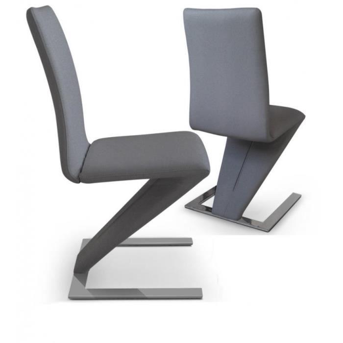 Lot de 2 chaises de salon zaz grise achat vente for Chaise grise salon