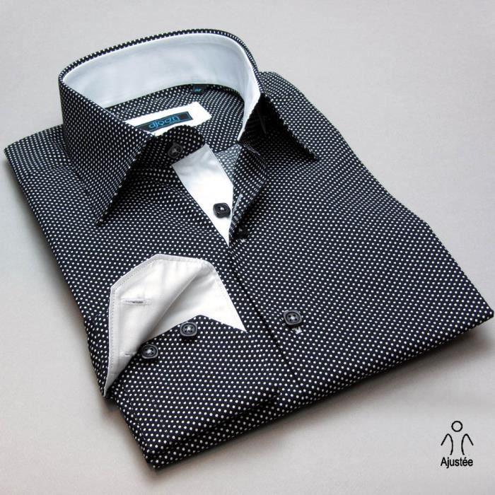 chemise homme noir pois blanc noir achat vente. Black Bedroom Furniture Sets. Home Design Ideas