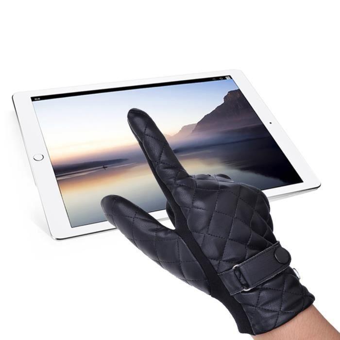 pu hiver en cuir pour homme conduite gants noir noir achat vente gant mitaine soldes. Black Bedroom Furniture Sets. Home Design Ideas