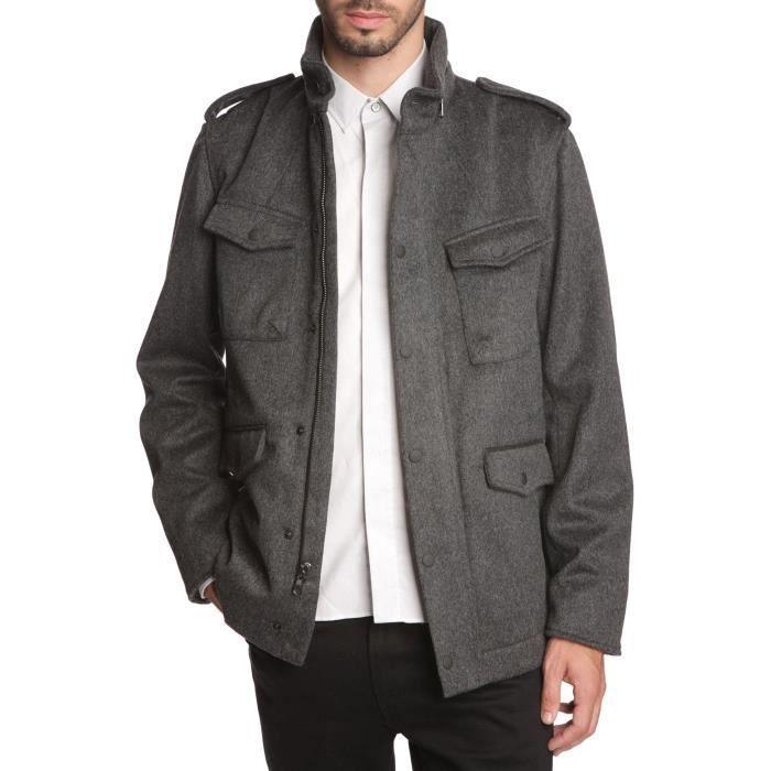 manteau gris en laine pour homme gris achat vente manteau caban cdiscount. Black Bedroom Furniture Sets. Home Design Ideas