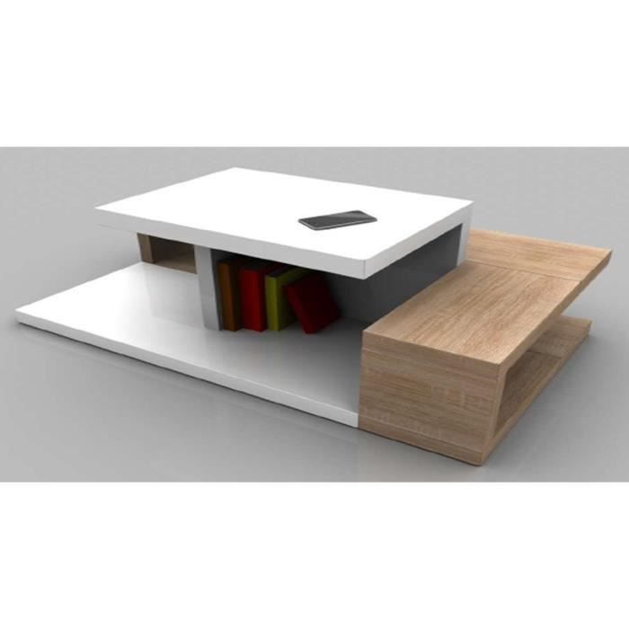 Table basse medelia coloris blanc sonoma ch achat for Table basse sonoma