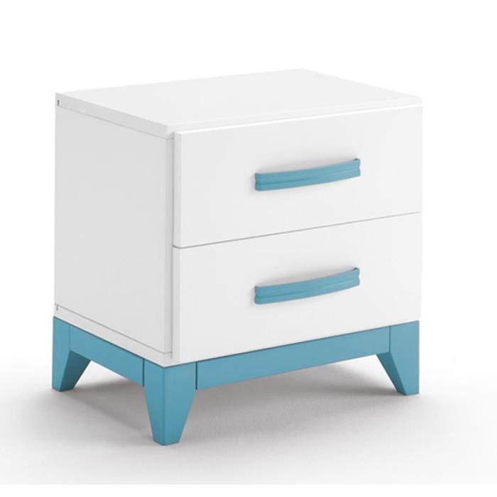 Table de chevet en bois coloris blanc et bleu avec 2 - Table de chevet bleu ...