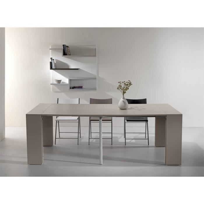Table console extensible capri taupe 4 allonges achat - Console extensible taupe ...