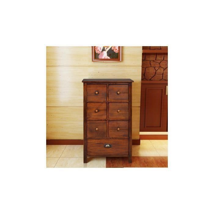 Commode en bois brun avec 7 tiroirs achat vente for Chambre adulte avec commode