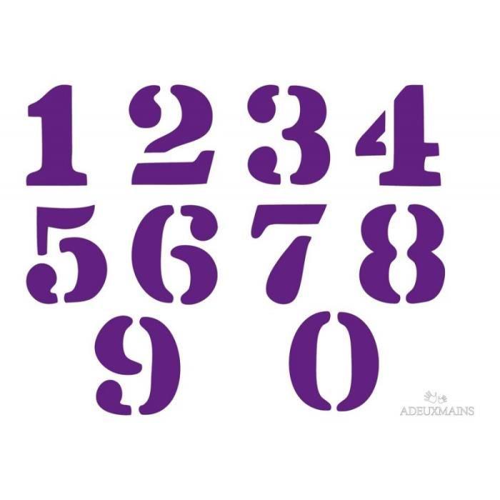 Pochoir adeuxmains chiffres industriels a4 6 cm de - Pochoirs pour meubles ...